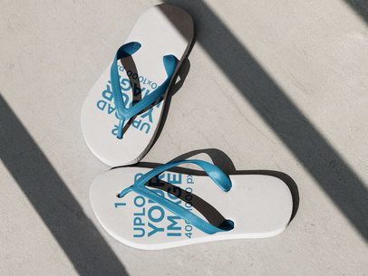 Pair of Flip Flops Lying on the Concrete Floor with Different Designs a15440