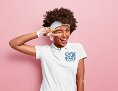 Polo Shirt Mockup of a Happy Woman in a Retro Outfit M3646-r-el2