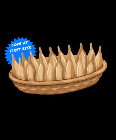 Food T-Shirt Design Template Featuring an Illustration of Typical Mexican Bread 3547f