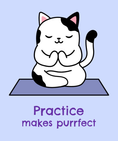 T-Shirt Design Template with a Peaceful Cat Doing Yoga 24f