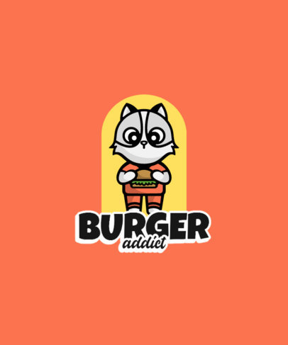 T-Shirt Design Maker with a Cat-Themed Graphic for Burger Fanatics 3746e-el1
