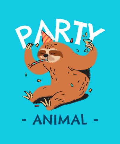 T-Shirt Design Generator Featuring a Sloth With a Party Hat 3542g