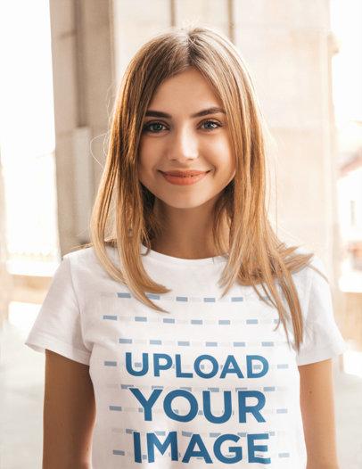 Basic T-Shirt Mockup of a Young Blonde Woman m1379-r-el2