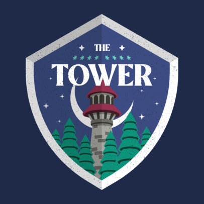 Gaming Logo Creator Featuring a Shield with an Illustrated Tower 4213g