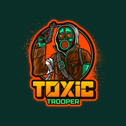 Logo Creator for Gaming Teams Featuring a Shooter in a Chemical Mask 4197h