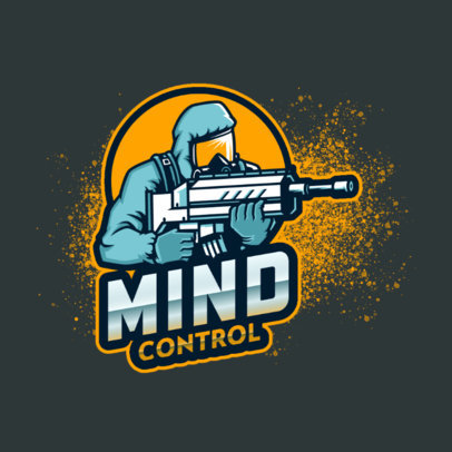 Gaming Logo Template Featuring a Shooter in a Hazmat Suit 4204j