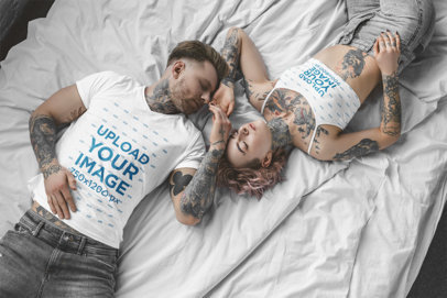 T-Shirt and Sports Bra Mockup of a Tattooed Couple Taking a Nap m2716-r-el2