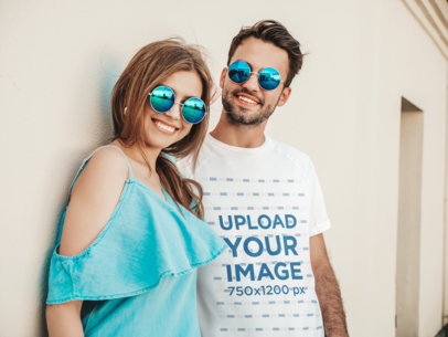 T-Shirt Mockup of a Couple Wearing Matching Sunglasses M4173-r-el2