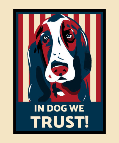 Political-Style T-Shirt Design Template Featuring Dog Illustrations 3555