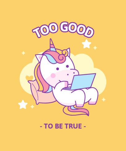 Cartoonish T-Shirt Design Maker Featuring a Cute Unicorn Graphic 3758c-el1