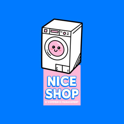 Dropshipping Logo Maker Featuring a Kawaii Washing Machine 3768a-el1