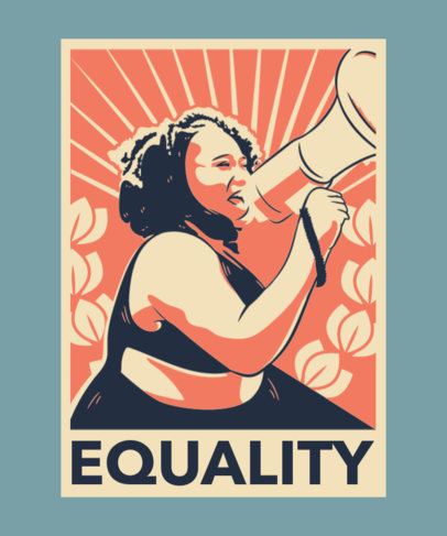Illustrated T-Shirt Design Maker With an Equality Message 3560c