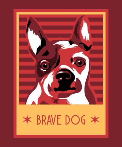 T-Shirt Design Creator Featuring a Framed Brave Dog Illustration 3555c