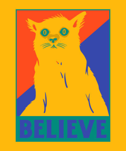 T-Shirt Design Maker Featuring an Illustration of a Startled Cat 3556f