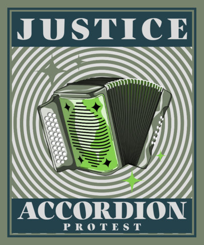 Music T-Shirt Design Template with an Accordion Illustration 3558f