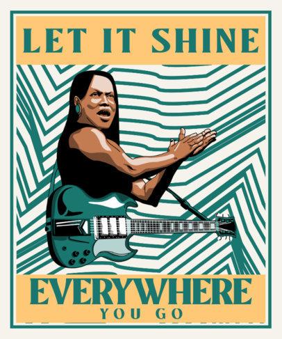 T-Shirt Design Template Featuring an Illustration of a Female Guitarist 3558b