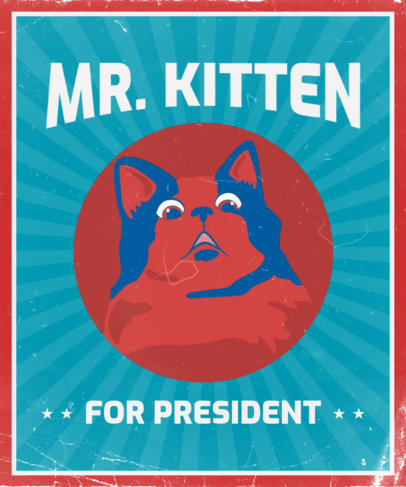 Cat-Themed T-Shirt Design Template with a Political Propaganda Style 3554g