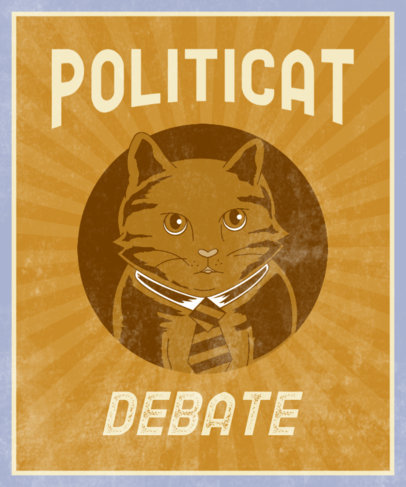 Political T-Shirt Design Generator with a Cat-Themed Graphic and Pun 3554h