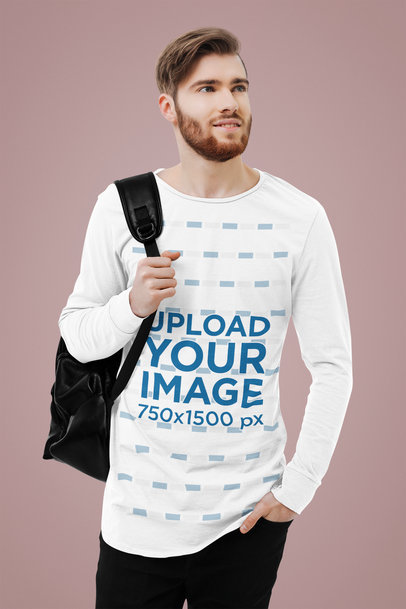 Long Sleeve Tee Mockup Featuring a Bearded Student in a Studio 41786-r-el2