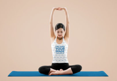 Tank Top Mockup of a Young Woman Relaxing While Doing a Yoga Pose M3968-r-el2