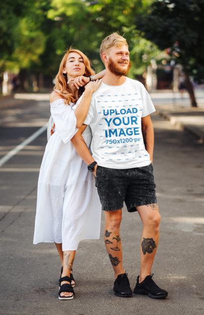 T-Shirt Mockup of a Tattooed Man Posing With His Girlfriend m4156-r-el2