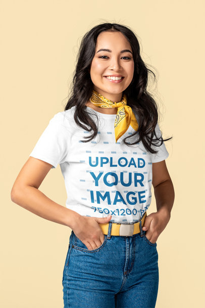 Basic T-Shirt Mockup Featuring a Happy Young Woman m2870-r-el2