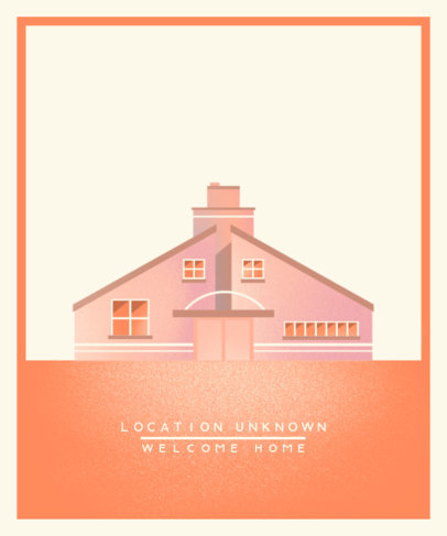 T-Shirt Design Template Featuring a Modern House Illustration 3581a