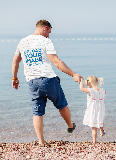 Back-View Tee Mockup of a Father Walking with Her Little Daughter M3990-r-el2