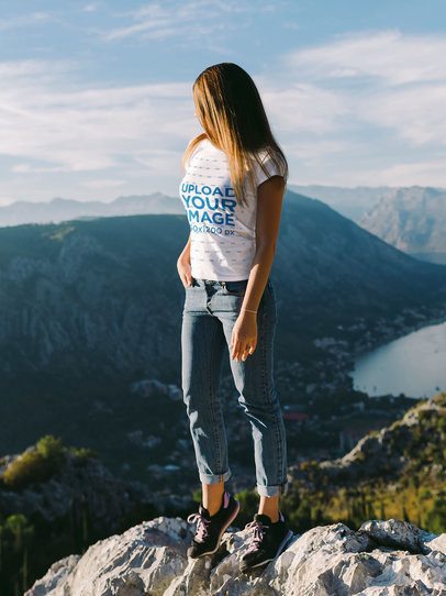T-Shirt Mockup of a Woman Admiring the View From the Top of a Mountain M3984-r-el2