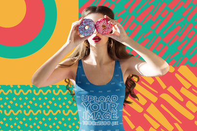 Fun Swimsuit Mockup of a Woman with an Illustrated Background m5948-r-el2