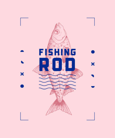 T-Shirt Design Template With a Fishing Theme 3781a