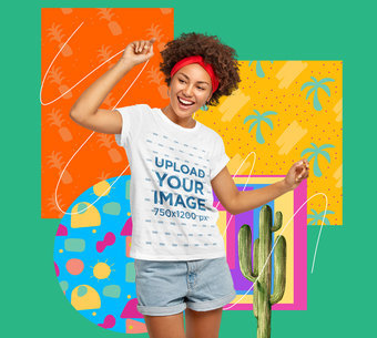 T-Shirt Mockup Featuring a Woman Dancing and a Collage m5939-r-el2