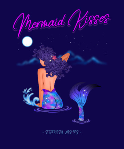 Trendy T-Shirt Design Template Featuring a Beautiful Mermaid 3575d
