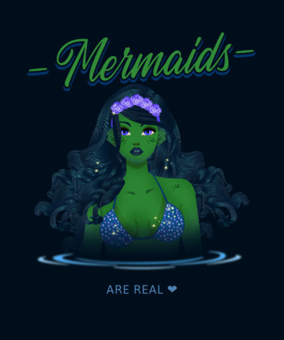 Cool T-Shirt Design Creator with a Mermaid-Themed Illustration 3575e