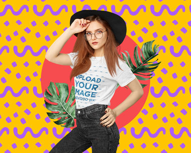 T-Shirt Mockup of a Trendy Woman with a Creative Collage Backdrop 5242-el1
