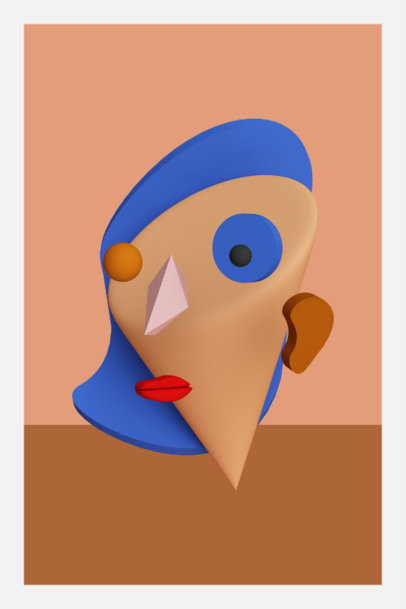 3D Art Print Design Template with an Abstract Face 3577c