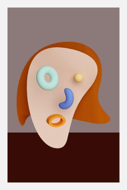 Art Print Design Template Featuring an Abstract 3D Portrait 3577f