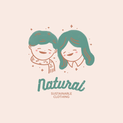 Sustainable Clothing Brand Logo Maker Featuring Kids Illustrations 4236c