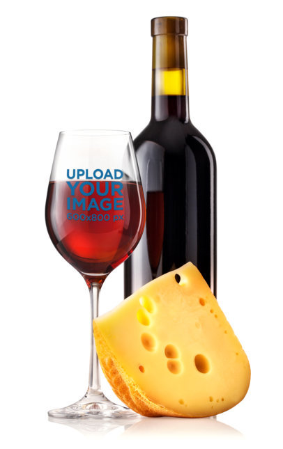 Wine Glass Mockup Featuring a Slice of Cheese m3270-r-el2