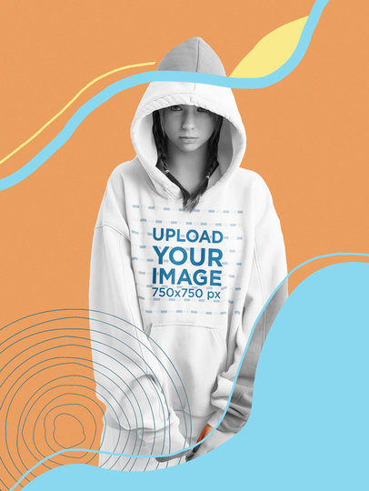 Hoodie Mockup of a Serious Young Woman with an Illustrated Background m5950-r-el2