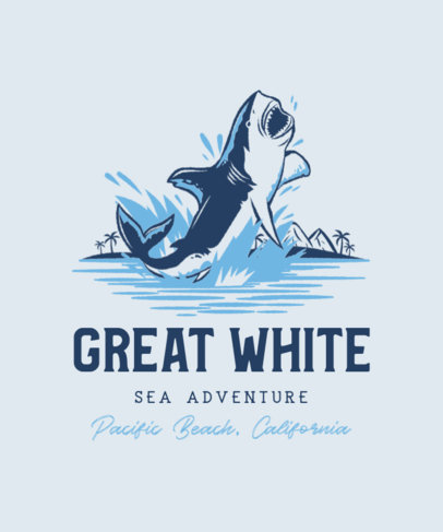 T-Shirt Design Template Featuring a Great White Shark Graphic 3567d
