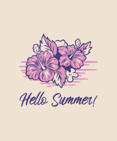 Illustrated T-Shirt Design Generator With a Summer Theme and Hibiscus Flowers 3567e