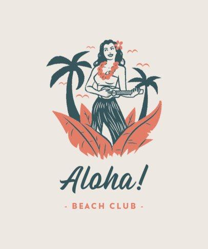 Summer T-Shirt Design Template Featuring Beach-Themed Illustrations 3567a