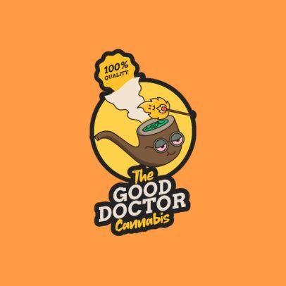 Cartoonish Logo Creator for a Marijuana Business with a Pipe Graphic 3779b