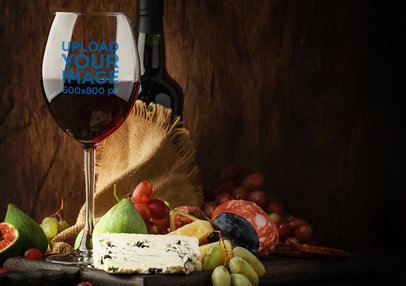 Wine Glass Mockup Featuring a Charcuterie Board m3056-r-el2