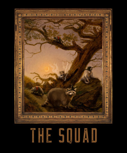 T-Shirt Design Generator Featuring a Painting Of a Funny Animal Squad 3563j
