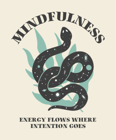 T-Shirt Design Template Featuring a Mindfulness Quote and a Snake Clipart 3580b