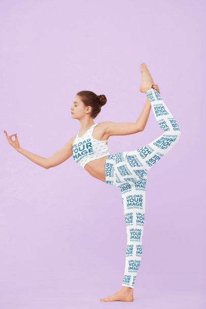 Mockup of a Flexible Yogi Wearing a Sports Bra and Women's Leggings M3710-r-el2