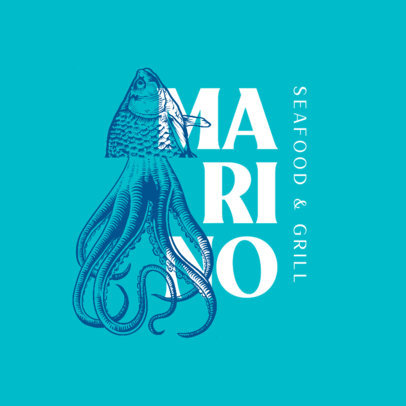 Logo Generator for a Seafood Restaurant Featuring a Vintage Illustration 4234a