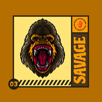 Cool Gaming Logo Maker Featuring a Fierce Gorilla Illustration 4229b